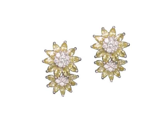 C.Z. And Yellow Citrine Daisy Rhodium Plated (.925) S/S Earrings