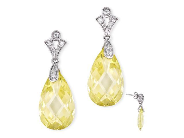 Simulated Yellow Briolette With S/S And C.Z. Earring