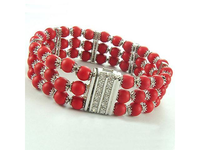 C.Z. (.925) Sterling Silver And Red Coral Rhodium Plated Bracelet