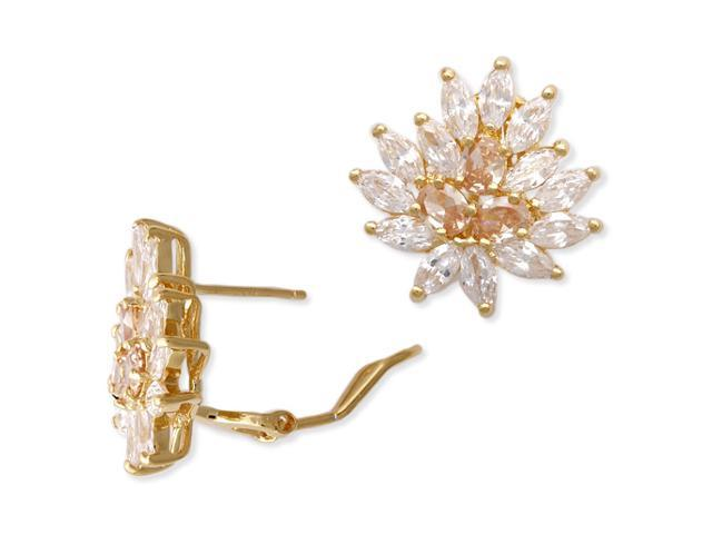 C.Z. Vermeil Plated Champagne S/S Cluster Earrings