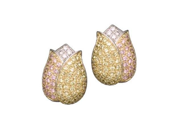 C.Z. (.925) S/S And Yellow Citrine And Pink Rhodium Plated Earrings