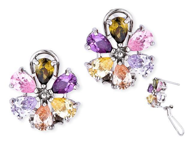 Multi-Colored Cubic Zirconia Gemstone Flower Clip With Post Earrings