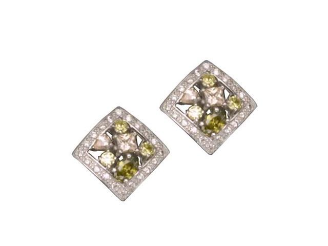C.Z. And M/C Rhodium Plated (.925) S/S Earrings