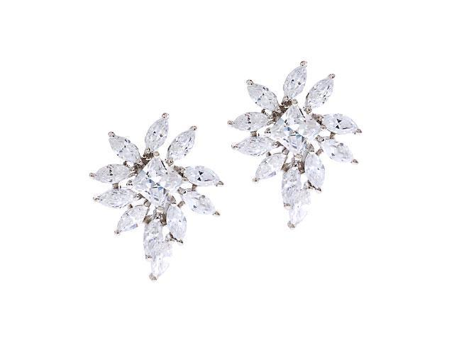 Princess Marquise-Shaped C.Z. Diamond Cluster Earrings