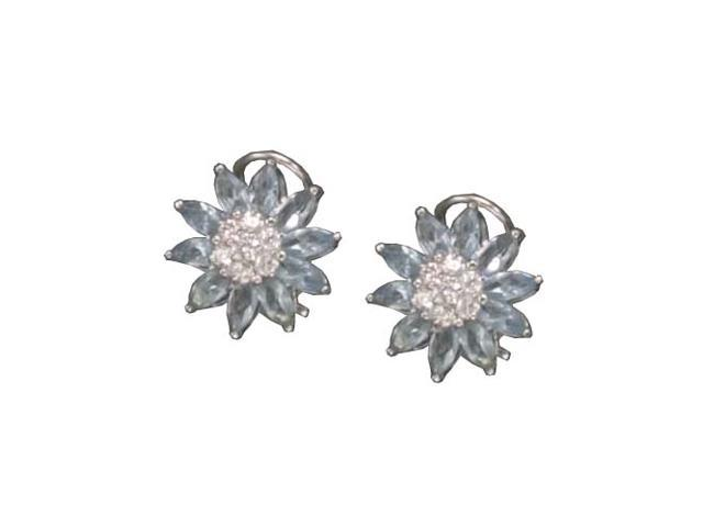 C.Z. And Blue Topaz Clip Post Rhodium Plated (.925) S/S Earrings