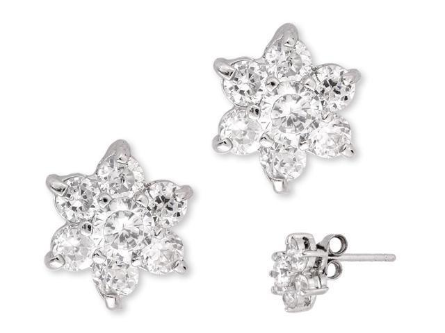 Round Simulated C.Z. Diamond Silver Flower Stud Earrings