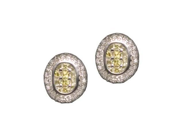 C.Z. Yellow Citrine Oval Square Rhodium Plated (.925) S/S Earrings