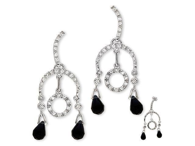 Dramatic Black C.Z. Briolette S/S Circular Drop Earrings