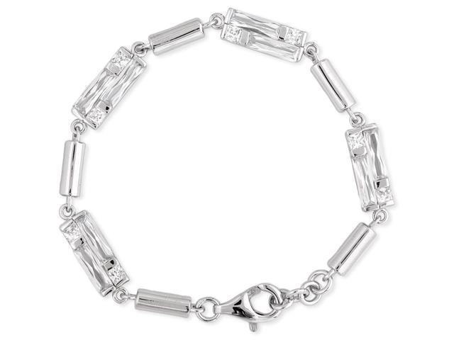 C.Z. Squared Shiny Brushed (.925) Sterling Silver Bracelet