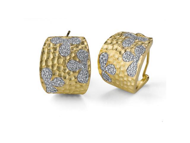 C.Z. Oval Flower Hammered Vermeil Plated (.925) S/S Earrings