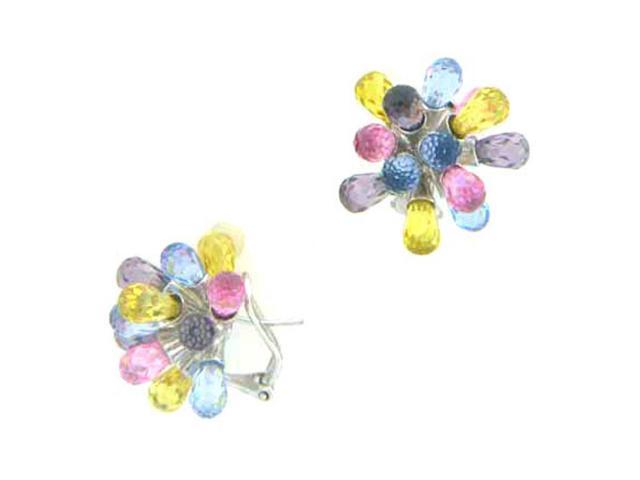 C.Z. (.925) S/S And Multi Color Tear Drops Rhodium Plated Earrings