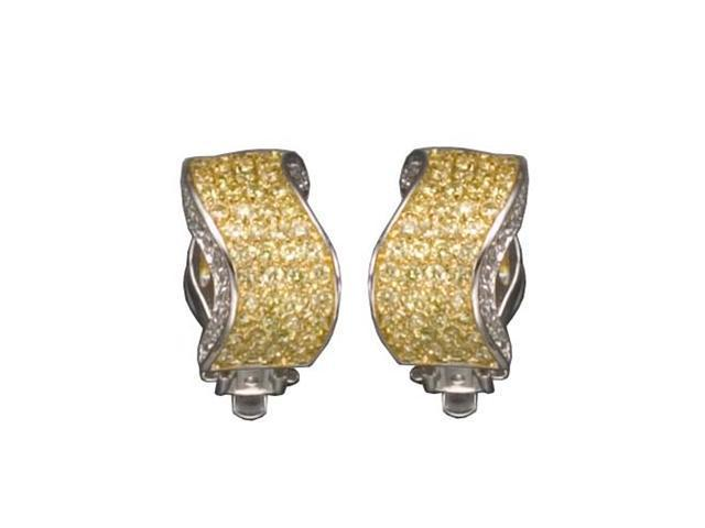 C.Z. And Yellow Clip Post Rhodium Plated (.925) S/S Earrings