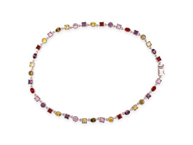 Round Oval Square C.Z. Multi-Gemstone S/S Necklace