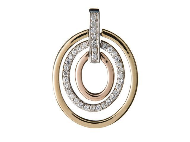 C.Z. Oval Shape Three Tone Open (.925) S/S Pendent