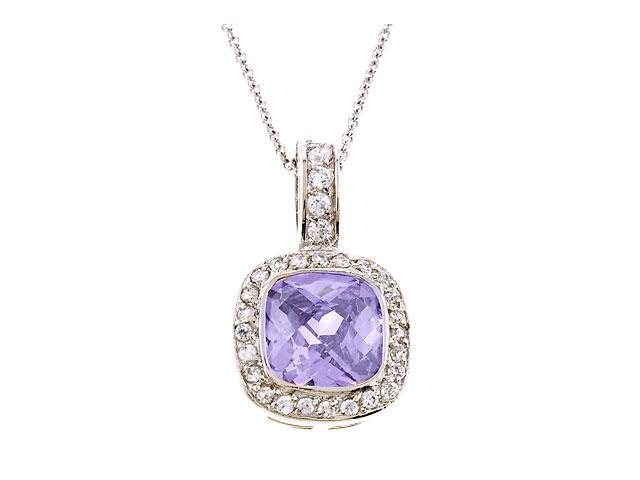 Square Light Amethyst C.Z. Diamond Silver Pendant