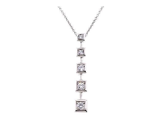 Square Link S/S C.Z. Diamond Journey Jewelry Pendant