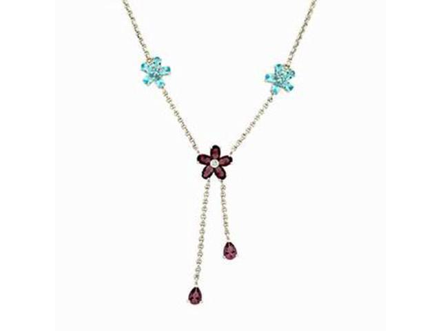 C.Z. (.925) S/S And Multi Color Rhodium Plated Necklace