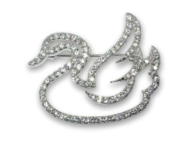 C.Z. (.925) S/S Swan  Rhodium Plated Pin