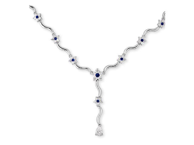 Scallop S/S C.Z. Sapphire Diamond Flower Lariat Necklace