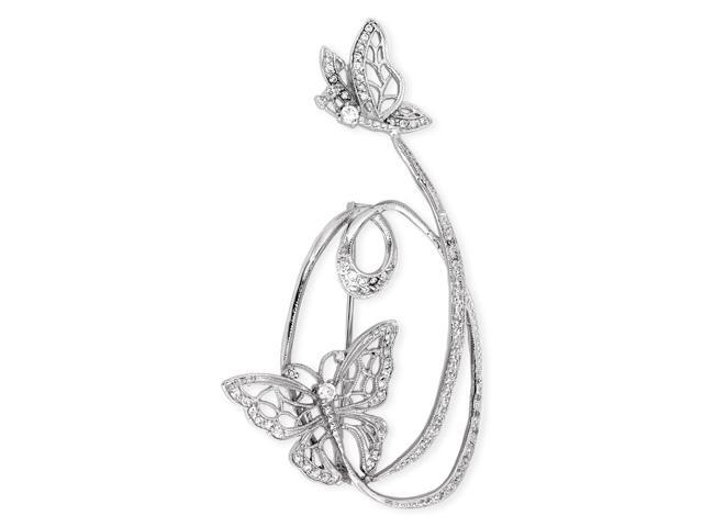 C.Z. Diamond Fluttering Butterflies S/S Brooch Pin