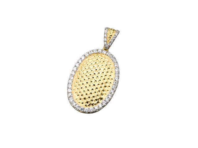 C.Z. (925) S/S Hammered Oval Pendant