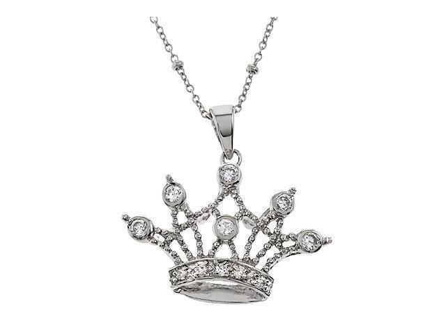 Queen Crown S/S Cubic Zirconia Pendant Necklace