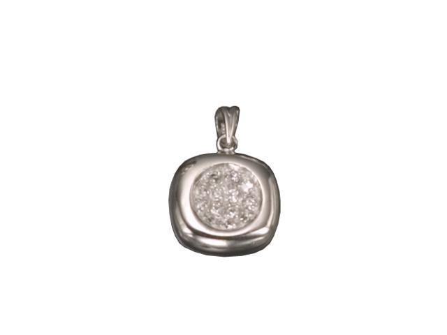 C.Z. Square Rhodium Plated (.925) S/S Pendent