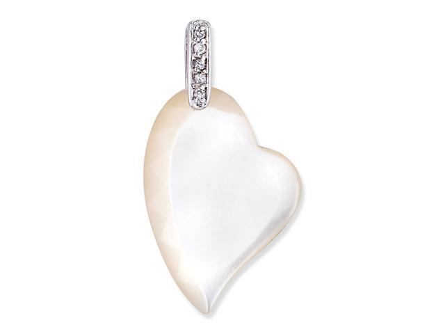 White Mother Of Pearl In A Heart Shape On A Little S/S With Round C.Z. Pendent