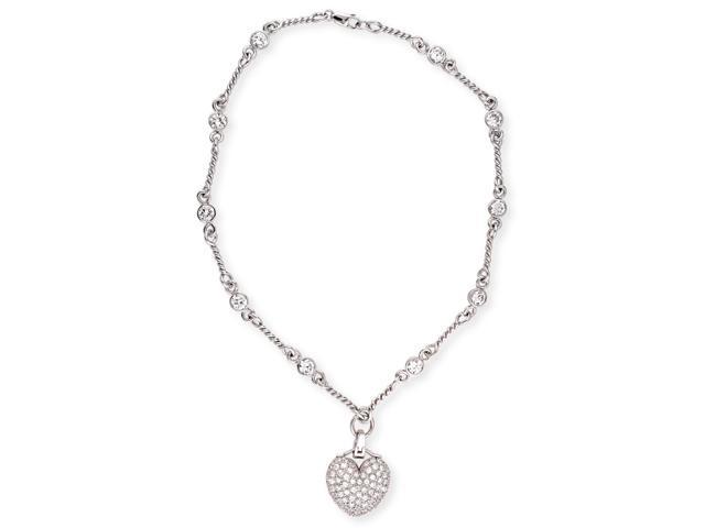 Designer Style Pave-Set C.Z. Diamond Heart Charm Rope Chain Necklace