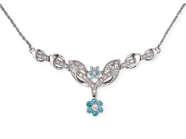Simulated Blue Topaz Diamond S/S Flower Necklace