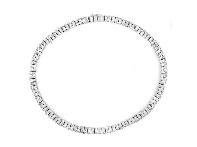Channel-Set Princess-Cut C.Z. Rhodium (.925) S/S Necklace