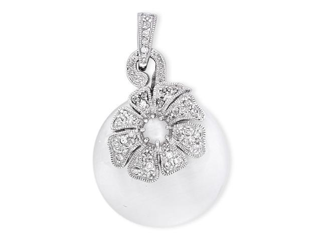 Circle White Mother-Of-Pearl Blooming C.Z. Flower Silver Pendant