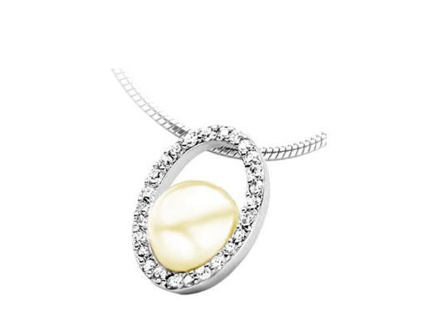 C.Z. (.925) S/S Oval Beige Pearl Rhodium Plated Pendant