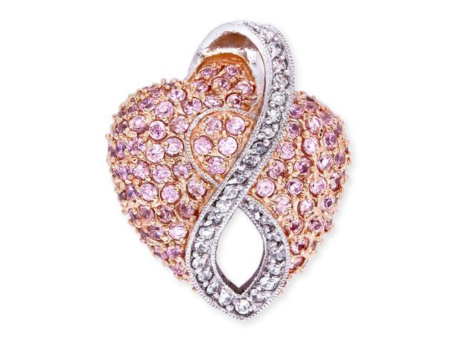 Rose Gold C.Z. Pink Sapphire Diamond Swoop Pave Puffed Heart Pendant