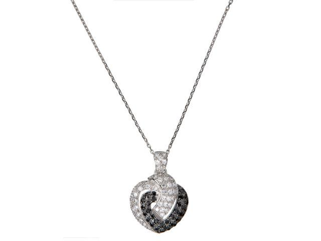 C.Z. And Black Onyx Double Heart Outline S/S Pendent