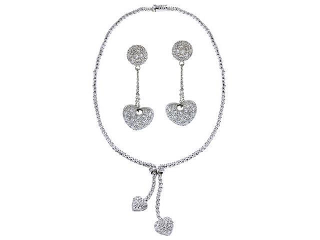 Cz Pave S/S Heart Necklace