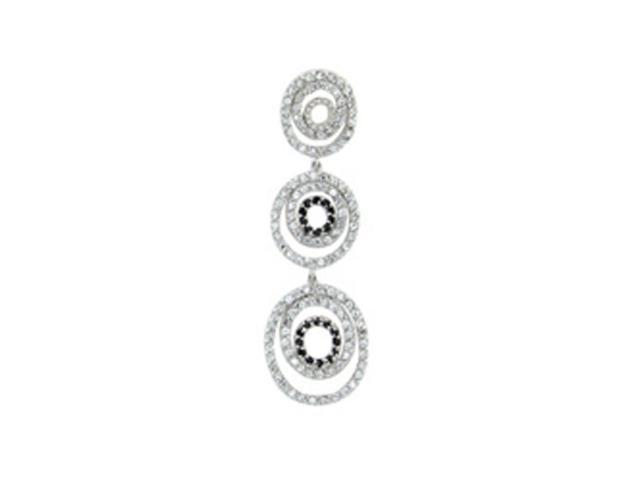 C.Z. (.925) S/S And Black Circle Rhodium Plated Pendent