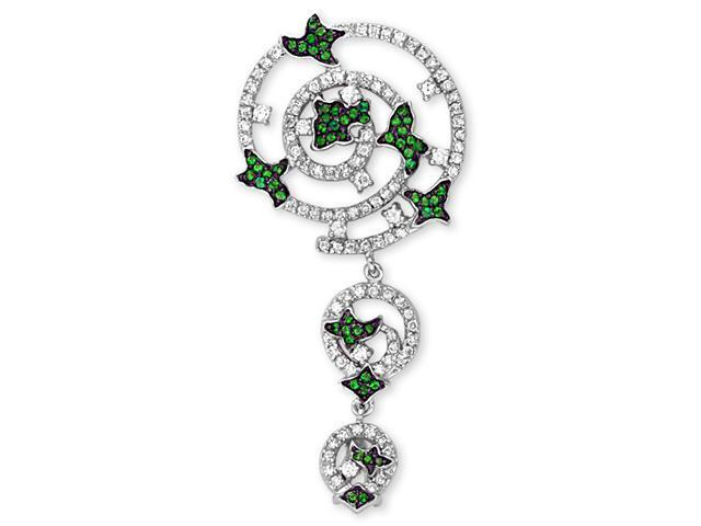 Emerald Floral On Graduating Circles Filled With Clear C.Z. Rhodium S/S Pendant