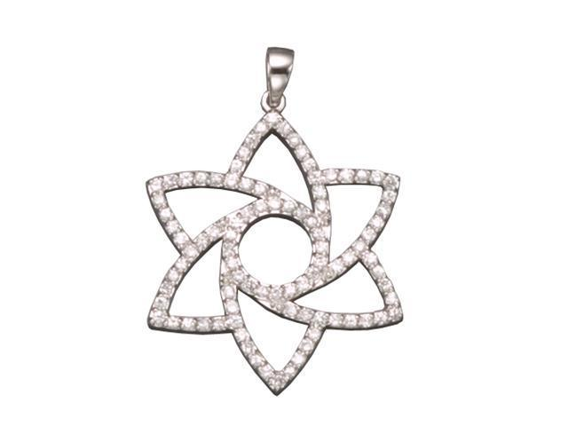 C.Z. Out Line Flower Rhodium Plated (.925) S/S Pendent