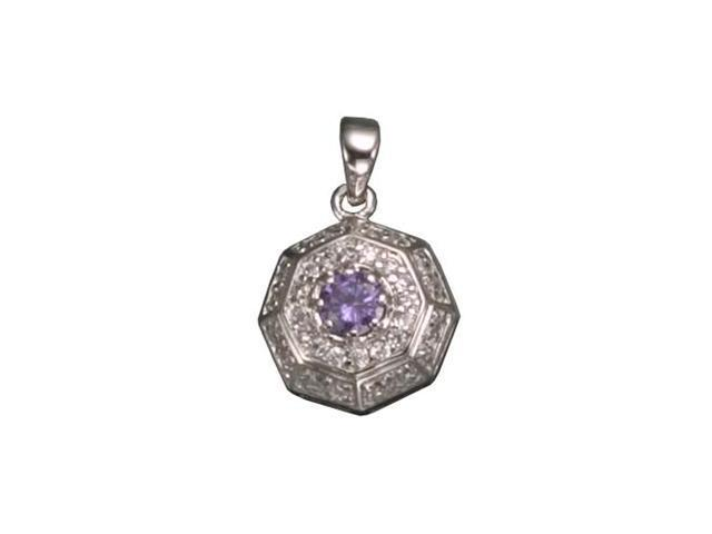 C.Z. And Amethyst  Rhodium Plated (.925) S/S Pendent