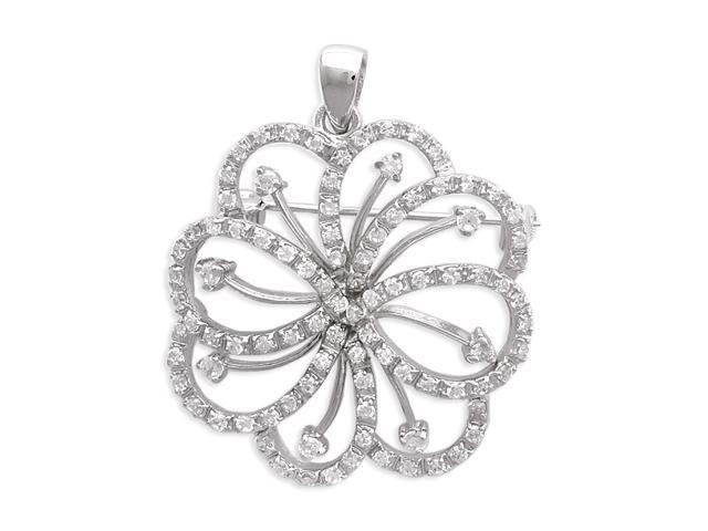 C.Z. Outlined Flower S/S Pendant And Brooch
