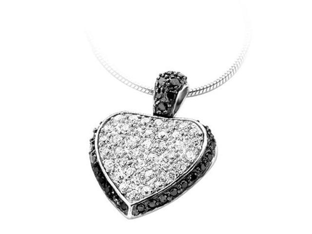 C.Z. (.925) S/S Black Heart Rhodium Plated Pendant