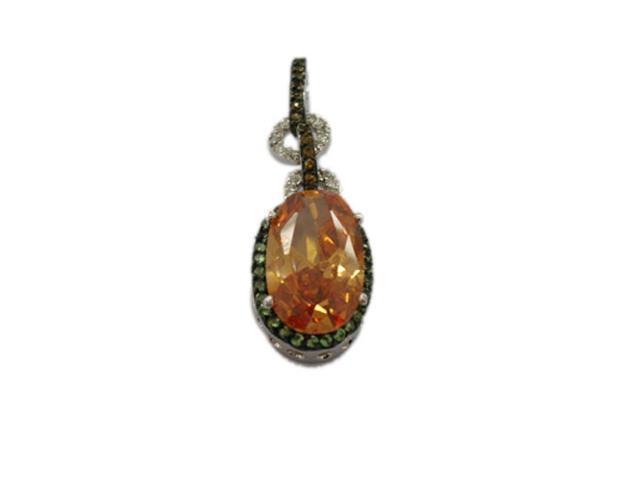 C.Z. (.925) S/S And Oval Multi Color Rhodium Plated Pendent