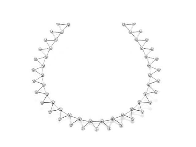 C.Z. (.925) S/S  Triangle Rhodium Plated Necklace