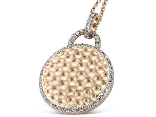 C.Z. Round Hammered Fashion Rose Plated (.925) S/S Pendant