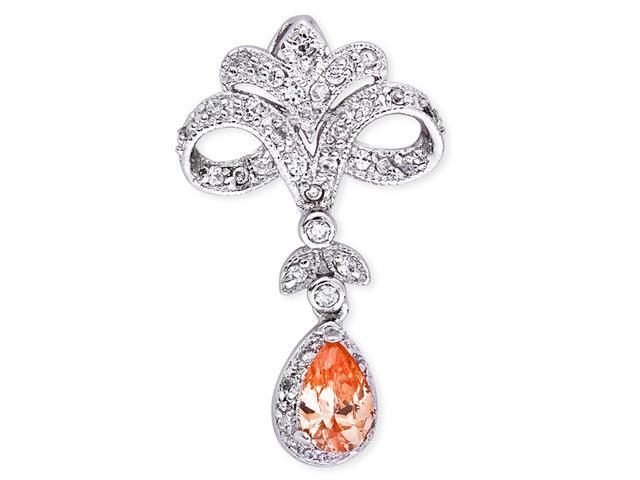 Vintage C.Z. Diamond Citrine S/S Chandelier Pendant