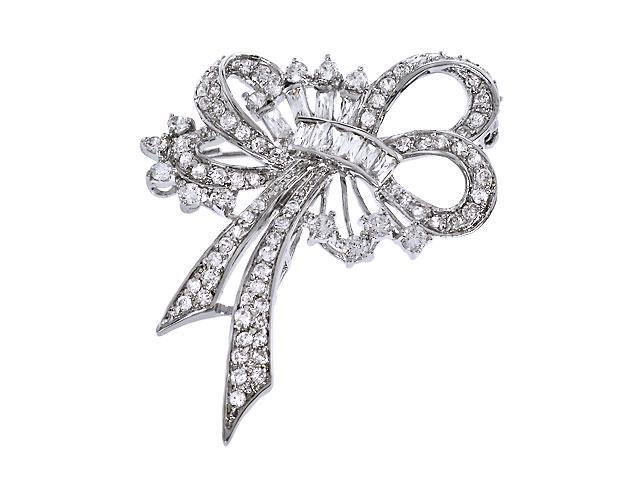 C.Z. Diamond Silver Forget Me Not Ribbon Bow Pin Brooch