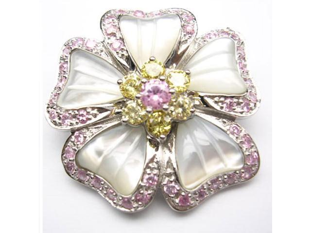 C.Z. (.925) S/S Pink Mother Of Pearl Flower Rhodium Plated Pin