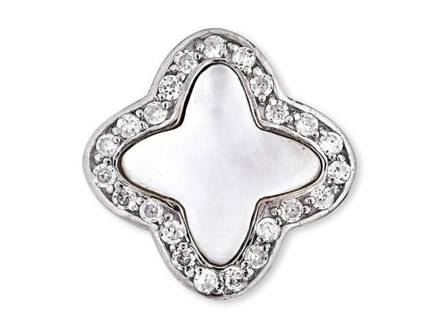 White Mother-Of-Pearl Inlay C.Z. Diamond Clover Pendant