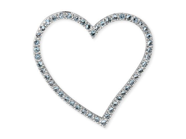 C.Z. Blue Topaz S/S Large Heart Outline Slide Pendant